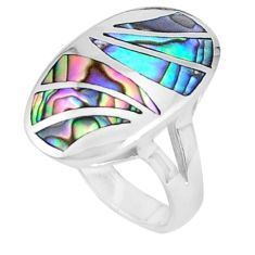 6.69gms green abalone paua seashell 925 sterling silver ring size 5.5 a95608