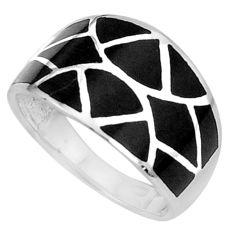 5.26gms black onyx enamel 925 sterling silver ring jewelry size 8 a95616