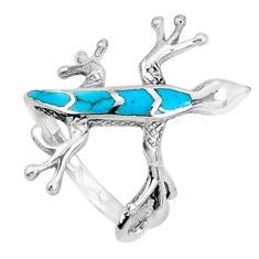 4.26gms fine blue turquoise enamel 925 silver lizard ring size 5.5 a95638