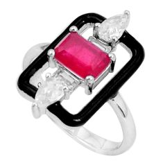 2.61cts red ruby (lab) topaz enamel 925 sterling silver ring size 6 a95729
