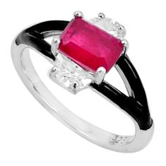 3.17cts red ruby (lab) topaz enamel 925 sterling silver ring size 6 a95731