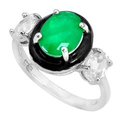 925 silver 4.82cts green emerald (lab) topaz black enamel ring size 7 a95749