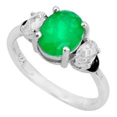 5.11cts green emerald (lab) topaz enamel 925 sterling silver ring size 8 a95761