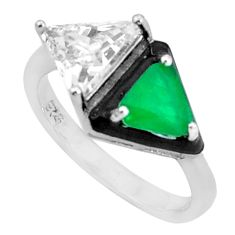 6.26cts green emerald (lab) topaz enamel 925 silver ring size 6.5 a95767