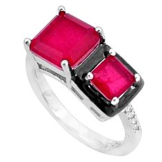 5.11cts red ruby (lab) topaz enamel 925 sterling silver ring size 8 a95777