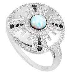 Art deco pink australian opal (lab) topaz 925 sterling silver ring size 9 a95802