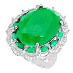 925 sterling silver 17.10cts natural green chalcedony topaz ring size 6 a96097