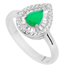 2.93cts green emerald (lab) white topaz 925 sterling silver ring size 7.5 a96103