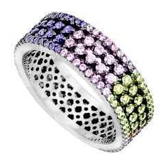 Multicolor band pink red green blue orange sterling silver ring size 6.5 a96231