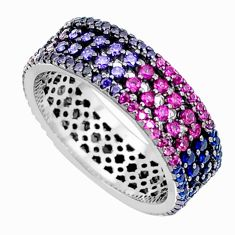 Multicolor band pink red green blue orange sterling silver ring size 6 a96232