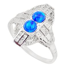 925 sterling silver 1.54cts blue australian opal (lab) topaz ring size 8 a96671