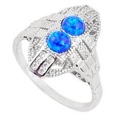 925 silver art deco blue australian opal (lab) round topaz ring size 7 a96673