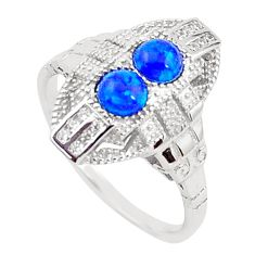 1.48cts blue australian opal (lab) topaz 925 sterling silver ring size 7 a96674