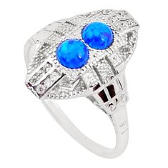 925 sterling silver 1.46cts blue australian opal (lab) topaz ring size 8 a96679