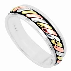 5.26gms victorian 925 silver two tone spinner band ring jewelry size 11.5 a96702