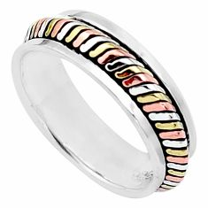 4.02gms victorian 925 silver two tone spinner band ring jewelry size 7.5 a96703