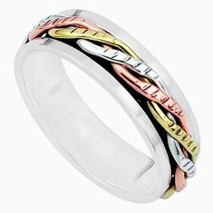 925 silver 5.48gms victorian two tone spinner band ring jewelry size 10.5 a96705