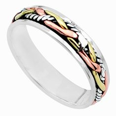 5.02gms victorian 925 silver two tone spinner band ring jewelry size 13.5 a96707