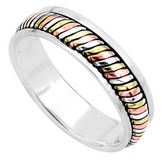 5.48gms victorian 925 silver two tone spinner band ring jewelry size 13.5 a96709