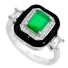 2.97cts green emerald (lab) topaz enamel 925 sterling silver ring size 6 a96921