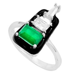 2.81cts green emerald (lab) topaz enamel 925 sterling silver ring size 8 a96925