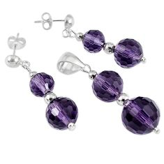 24.31cts natural purple amethyst beadsterling silver pendant earrings set a30507