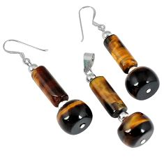 35.90cts natural brown tiger's eye 925 silver pendant earrings set a30522