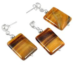 42.91cts natural brown tiger's eye 925 silver pendant earrings set a30543