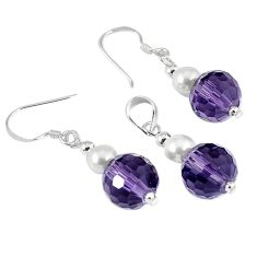 15.31cts natural purple amethyst pearl 925 silver pendant earrings set a30554