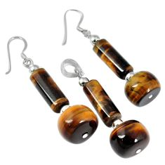 34.10cts natural brown tiger's eye beads silver pendant earrings set a30590