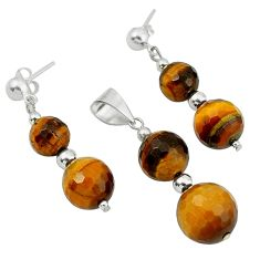 Natural brown tiger's eye 925 silver pendant earrings set jewelry a43248