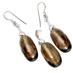 Brown smoky topaz 925 sterling silver pendant earrings set a60214