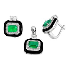 9.48cts green emerald (lab) topaz 925 silver pendant earrings set a87647