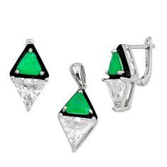 14.77cts green emerald (lab) topaz 925 silver pendant earrings set a87649