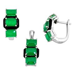 12.86cts green emerald (lab) 925 sterling silver pendant earrings set a87685