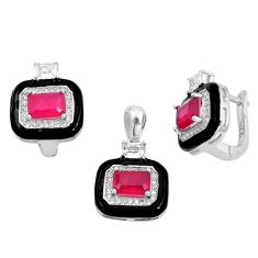 9.47cts red ruby (lab) topaz enamel 925 silver pendant earrings set a87693