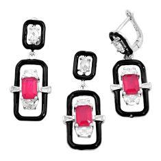 925 silver 10.77cts red ruby (lab) topaz enamel pendant earrings set a87695