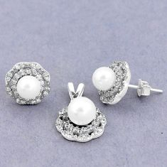 7.67cts natural white pearl topaz 925 silver pendant earrings set a87864