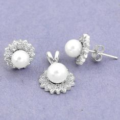 7.57cts natural white pearl topaz 925 silver pendant earrings set a87866