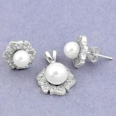 8.25cts natural white pearl topaz 925 silver pendant earrings set a87871