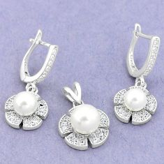 9.13cts natural white pearl topaz 925 silver pendant earrings set a87874