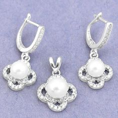 8.96cts natural white pearl topaz round 925 silver pendant earrings set a87877
