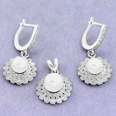 10.00cts natural white pearl topaz 925 silver pendant earrings set a87879