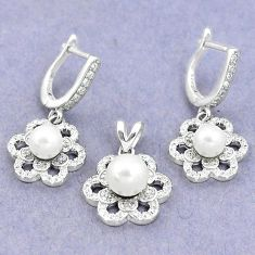 925 silver 9.89cts natural white pearl topaz round pendant earrings set a87880