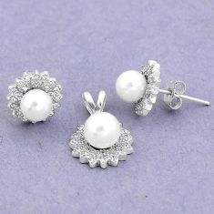 925 silver 7.97cts natural white pearl topaz pendant earrings set jewelry a87908