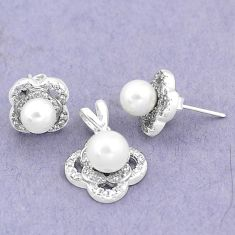 925 silver 7.04cts natural white pearl topaz round pendant earrings set a87912