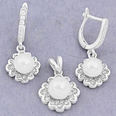 9.71cts natural white pearl topaz 925 silver pendant earrings set a87913