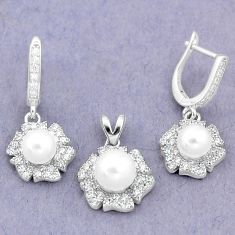 9.44cts natural white pearl topaz 925 silver pendant earrings set a87916