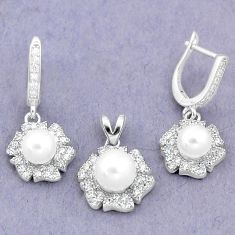 10.00cts natural white pearl topaz 925 silver pendant earrings set a87917