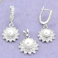 10.22cts natural white pearl topaz 925 silver pendant earrings set a87945